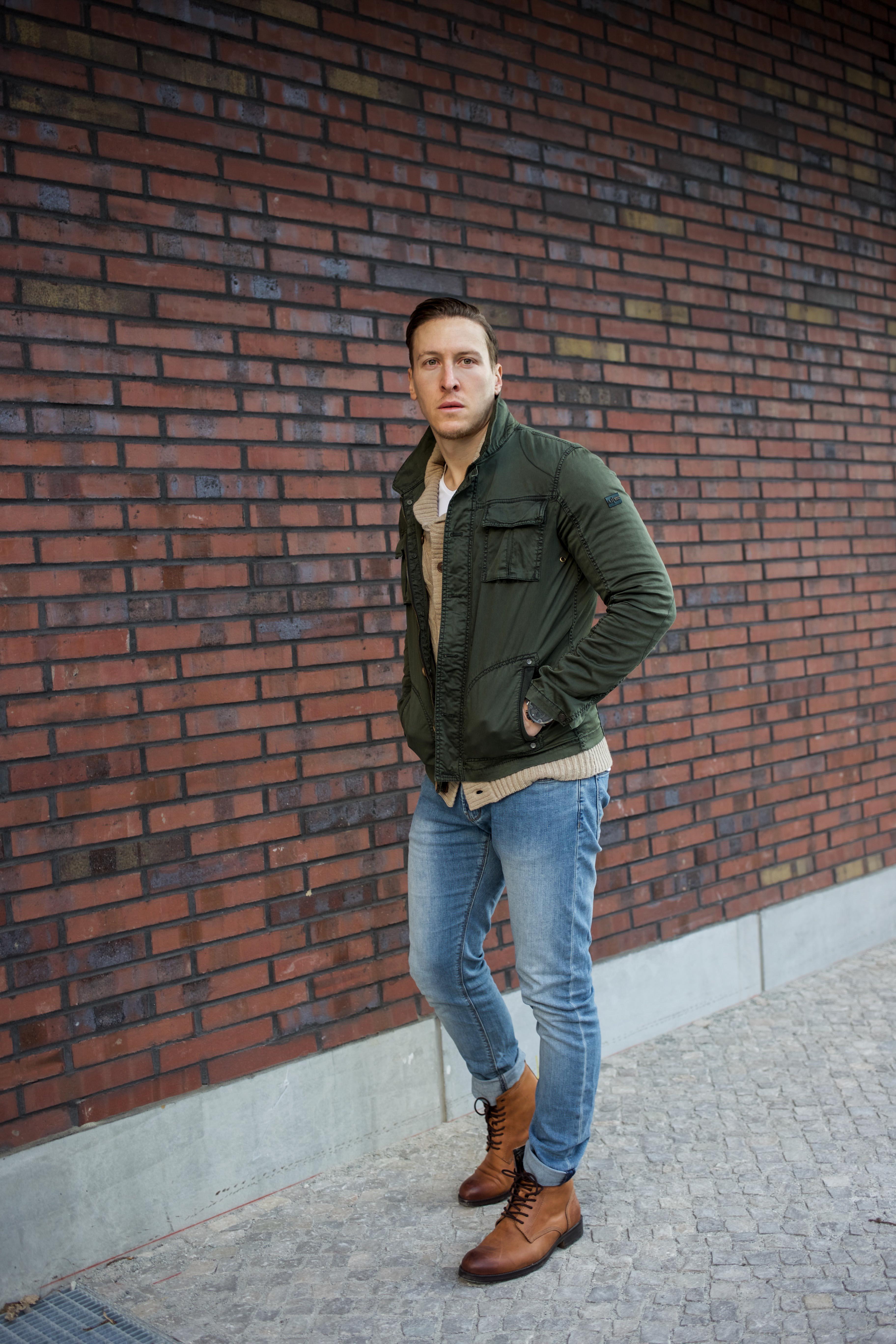 Strickjacke Männer Jeans Beige Cardigan Blue Kombinieren PkZiuX